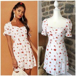 Charlie Holiday Valentine mini dress puff sleeve